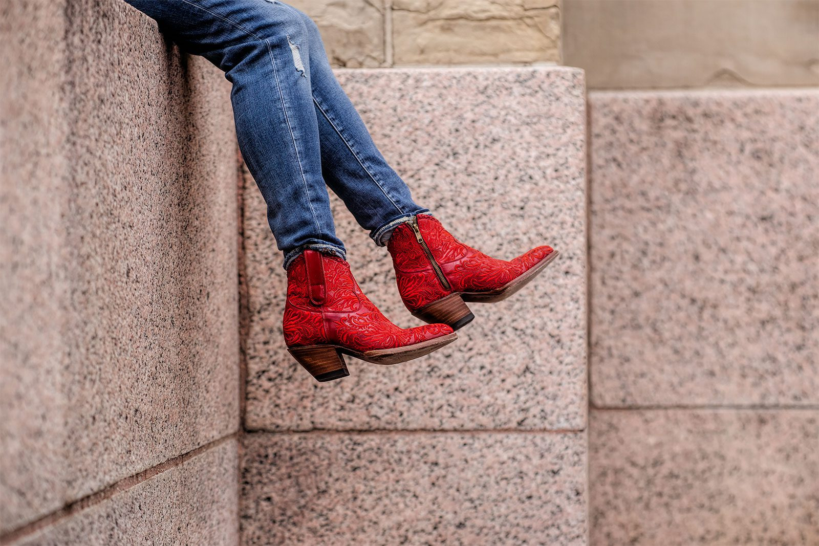 Viv Dangling Her Red Mila Boots