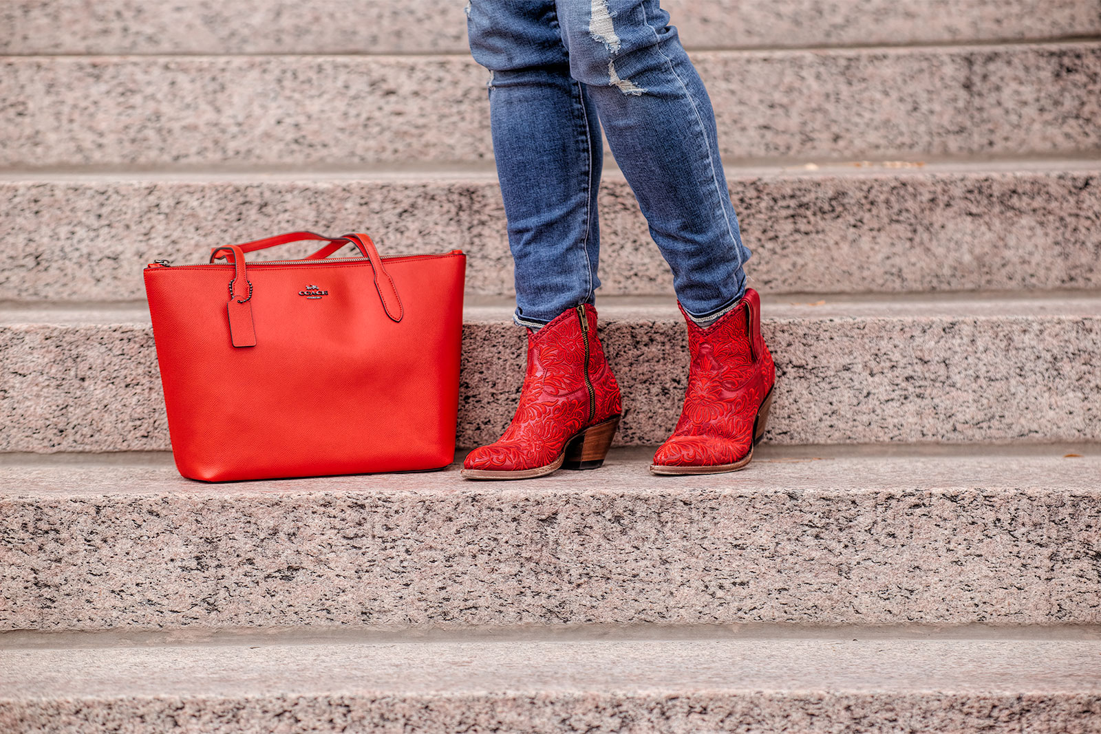 MemoryBlogger Vivian Cumins in Her Red Mila Boots with Red Coach Handbag
