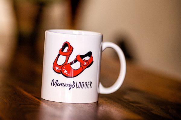 MemoryBlogger Mug on Desk (Tilted)